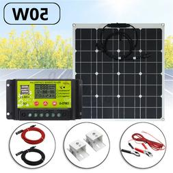 50/100W DC12V/5V USB DC Battery Solar Panel+30A Controller F