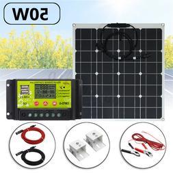 50/100W DC12V/5V USB DC Battery Solar Panel+30A Controller F