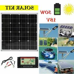 50 Watt 50W Solar Panel Kit with 10A LCD Solar Controller 18
