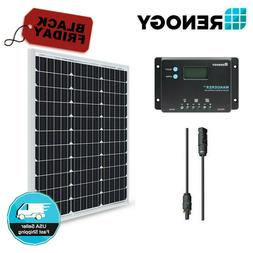Renogy 50W 12V Solar Panel 10A Controller Bundle Kit Camping