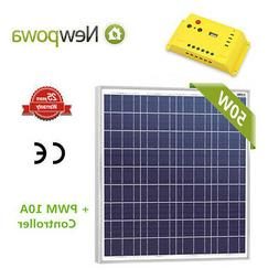 50W 12V Solar Panel + PWM 10A Charge Controller Regulator RV