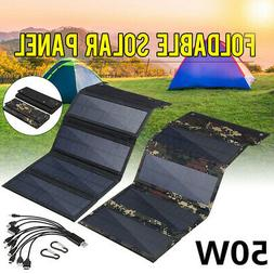 50W Folding Solar Panel 10in1 USB Phone Battery Charger Powe