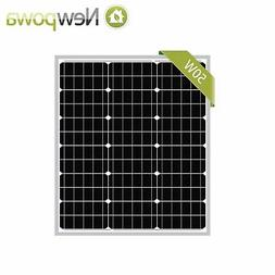 NewPowa 50W Watt 12V Mono Solar Panel Module RV Marine W/ 3F