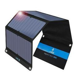 BigBlue 3 USB Ports 28W Solar Charger, Foldable Portab...