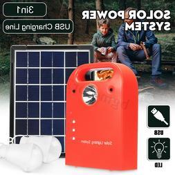 5W Portable Solar Panels Light Kit Charging Generator Power