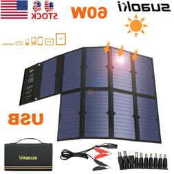Suaoki 60W 18V Foldable Solar Panel Battery Charger DC USB P