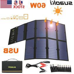 Suaoki 60W 18V Foldable Solar Panel Battery Charger DC USB P
