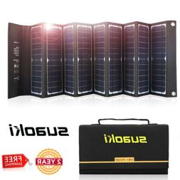 Suaoki 60W Folding Portable Solar Panel Charger USB Battery