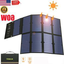 60W Portable Foldable Solar Power Bank Dual USB Battery Char