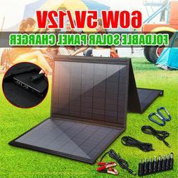 60W Portable Folding Solar Panel Charger 5V Dual USB Bag Bat