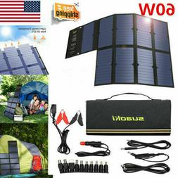Suaoki 60W Solar Panel Solar Battery Charger Portable Dual P
