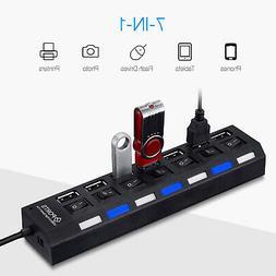 7 Port USB 2.0 Hub High Speed Adapter Splitter On/Off Switch