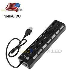 7-Port USB 2.0 Hub + High Speed Adapter ON/OFF Switch For La
