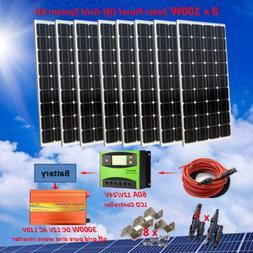 800 Watt Off Grid Kit: 8x 100W Solar Panel & 3000W Power Inv