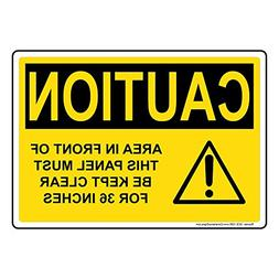 ComplianceSigns Plastic OSHA CAUTION Sign, 7 x 5 in. with El