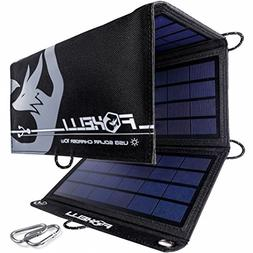 Foxelli Dual USB Solar Charger 10W - Foldable Solar Panel Ph