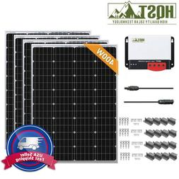 HQST 400W 12V Mono Solar Panel Starter Kit Off Grid Battery