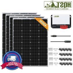 HQST 400W 12V Mono Solar Panel Starter Kit Off Grid Battery