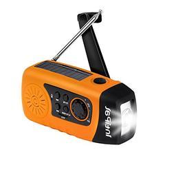 IntiPal 2000mAh, Emergency Solar Hand Crank FM Radio, MP3 Pl