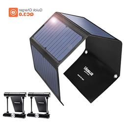Quick Charge 3.0 Portable Solar Charger 28W SUAOKI Foldable