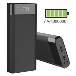 300000mAh 3USB External Power Bank Pack Portable LED Battery
