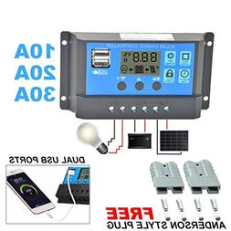 24V 12V Auto Solar Panel Battery Charge Controller 30A 20A 1
