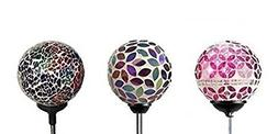 "Set of 3 Ball Lights, Solar Mosaic 3.5"" Crackle Glass Ball,"