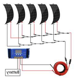 100W 12V Bendable Flexible Mono Solar Panel Kit+15A Charge C