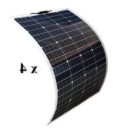 WindyNation 4pcs 100W 100 Watt 12V Bendable Flexible Thin Li