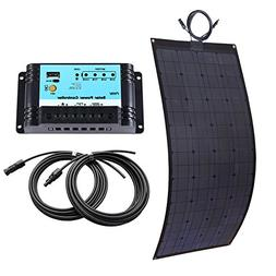 Lensun 100W 12V Black Fiberglass Flexible Solar Panel Kit wi