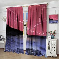 smallbeefly Nature Blackout Window Curtain Thunderstorm Bolt