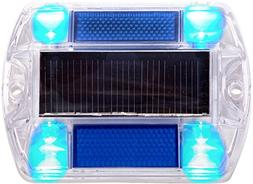 2 Pack Blue Polycarbonate Solar Powered Outdoor Road Stud De
