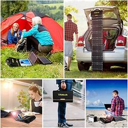 Cargador solar 60W Kit portatil Panel plegable Salida dual d