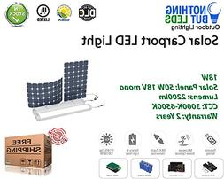 18W Outdoor Solar Carport/Portable LED Light, Fixture IP: IP