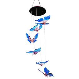 Color Changing Butterfly Solar Operated Light Wind Chime, Mu