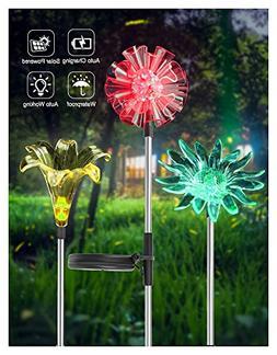 UNIWA 7 Color-Changing LED Solar Garden Stake Lights, 3 Pack