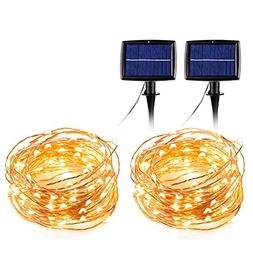 Christmas Lights String Solar Power 55 Feet Copper Wire with