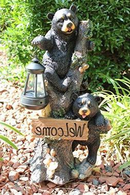 Ebros Climbing Black Bear Cubs Garden Light Statue Figurine