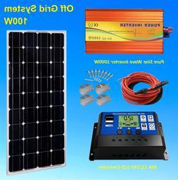 Complete Kit 100 Watt 100 W Solar Panel + 1000W Inverter 12V