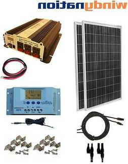 COMPLETE KIT 200 W Watt 200W Solar Panel + 1500W Inverter 12