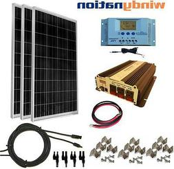 COMPLETE KIT 300 W Watt 300W Solar Panel + 1500W Inverter 12
