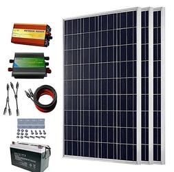 300 Watts 12V Complete Solar Kit: 3pcs 100W Poly Solar Panel