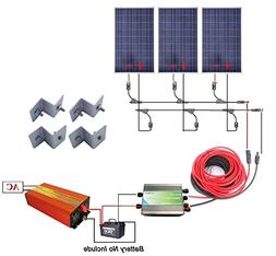 12 Volts 300 Watts Complete Solar Kit: 3pcs 100W Poly Solar