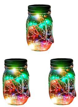 Outdoor Decor Color Changing Led Solar Mason Jar Lights, Sta