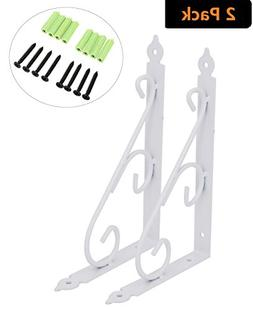AddGrace Pack of 2 Decorative Wall Shelf Brackets Support fo