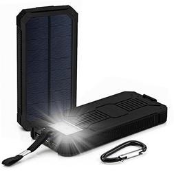 12000mAh LED Dual USB Ports Solar Panel Power Bank Case Char
