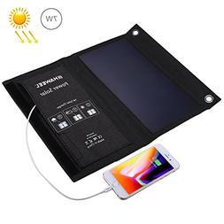 HAWEEL 7W Dual USB Solar Charger - Foldable Solar Panel Phon