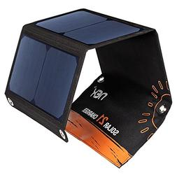 21W Dual USB Solar Charger, Foldable Waterproof  Portable Ch