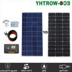 EC0-WORTHY 100W 12V Mono Solar Panel Kit Camping RV Caravan