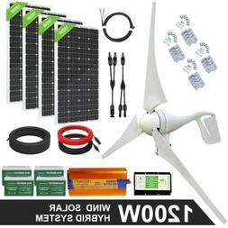 600W 800W 1200W Watt Hybrid Solar and Wind  Power Kit For Ho